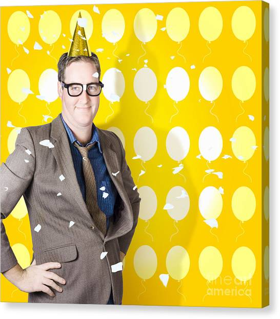 Happy Birthday Canvas Print - Winning Man Celebrating Victory. Business Success by Jorgo Photography - Wall Art Gallery
