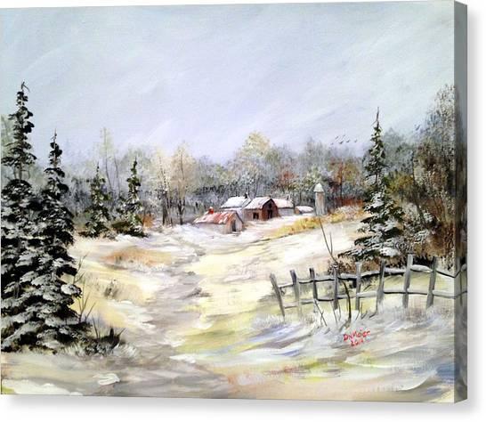 Winter At The Farm Canvas Print