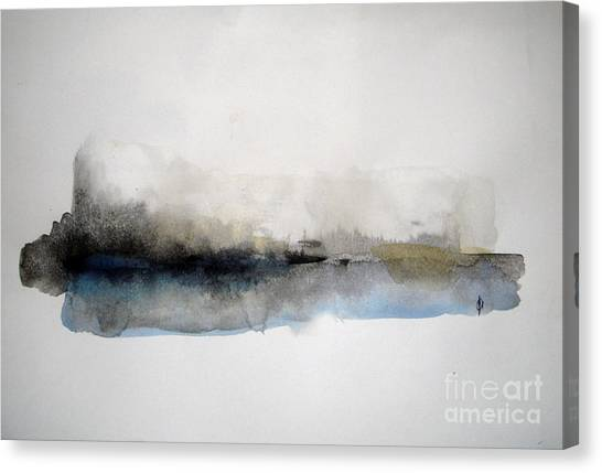 Abstract Seascape Canvas Print - Winter On The Lake by Vesna Antic