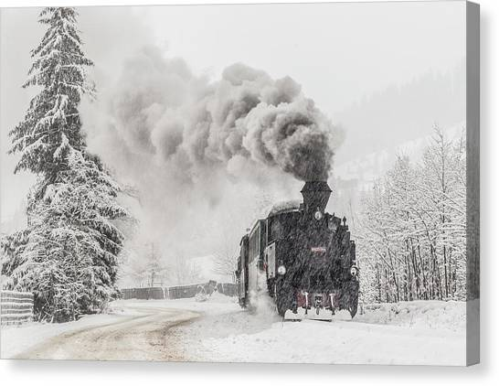 Steam Trains Canvas Print - Winter Story by Sveduneac Dorin Lucian