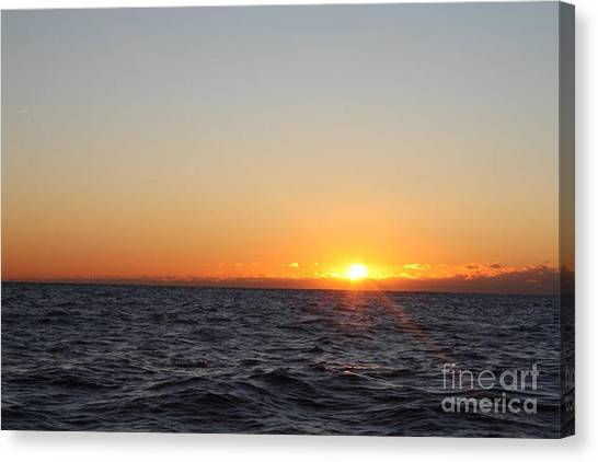 Sunrise Horizon Canvas Print - Winter Sunrise Over The Ocean by John Telfer