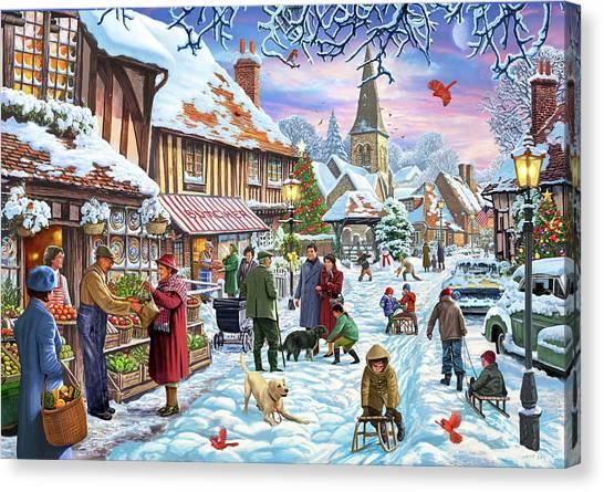 Snowball Canvas Print - Winter Village Usa by Steve Crisp