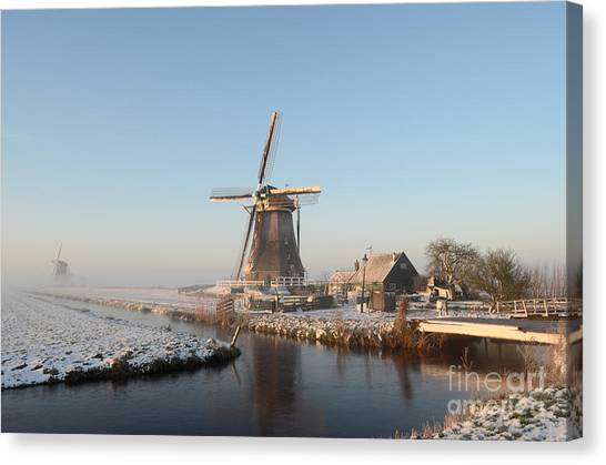 Winter Windmill Landscape In Holland Canvas Print