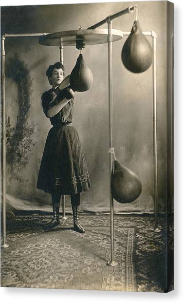 Workout Canvas Print - Woman Boxing Workout by Underwood Archives