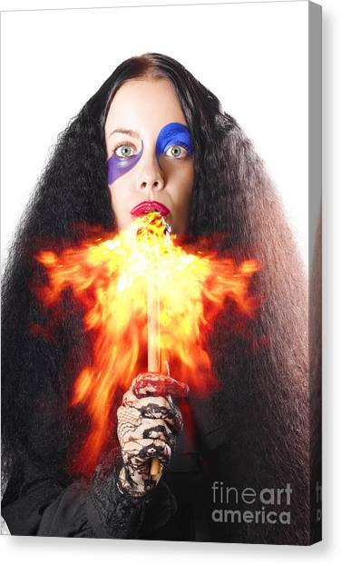 Breathe Canvas Print - Woman Breathing Fire From Mouth by Jorgo Photography - Wall Art Gallery
