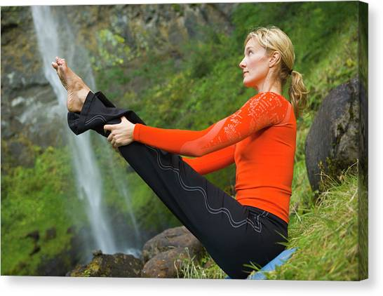 Yogi Canvas Print - Woman Does Yoga In Front Of Waterfall by Ty Milford