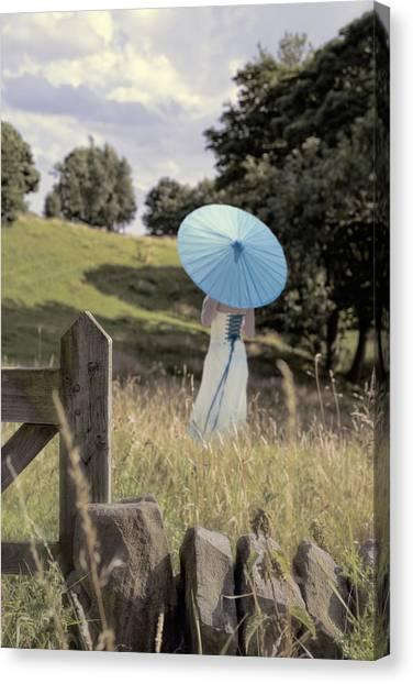 Peak District Canvas Print - Woman In Country Field by Amanda Elwell