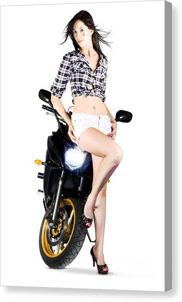 Dirt Bikes Canvas Print - Woman Leaning On A Motorbike by Jorgo Photography - Wall Art Gallery