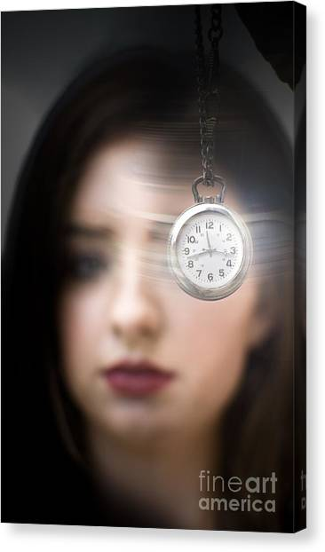 Sterling Silver Canvas Print - Woman Looking At Pocket Watch by Jorgo Photography - Wall Art Gallery