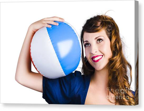 Volleyball Canvas Print - Woman With Beach Ball by Jorgo Photography - Wall Art Gallery