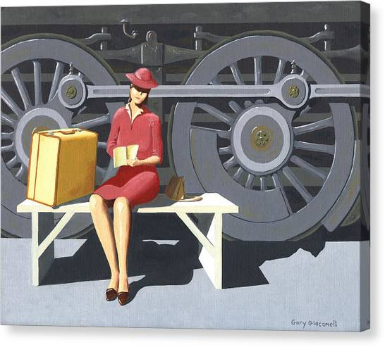 Woman With Locomotive Canvas Print