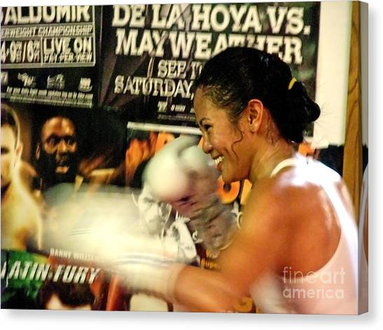 Manny Pacquiao Canvas Print - Woman's Boxing Champion Filipino American Ana Julaton by Jim Fitzpatrick