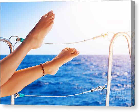 Women's Feet On The Yacht Canvas Print