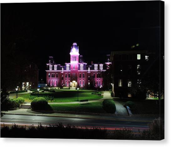 West Virginia University Wvu Canvas Print - Woodburn Hall At Night by Cityscape Photography