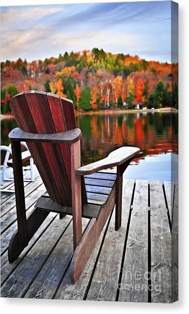 Adirondack Chair Canvas Print - Wooden Dock On Autumn Lake by Elena Elisseeva