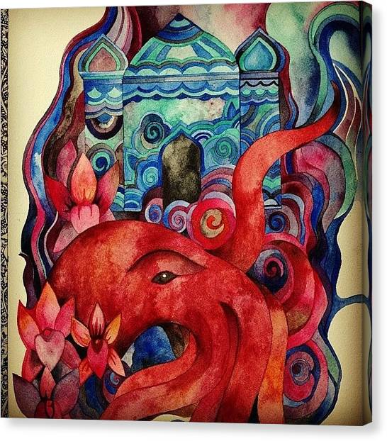 Octopus Canvas Print - Work In Progress #watercolor #painting by Megan Smith