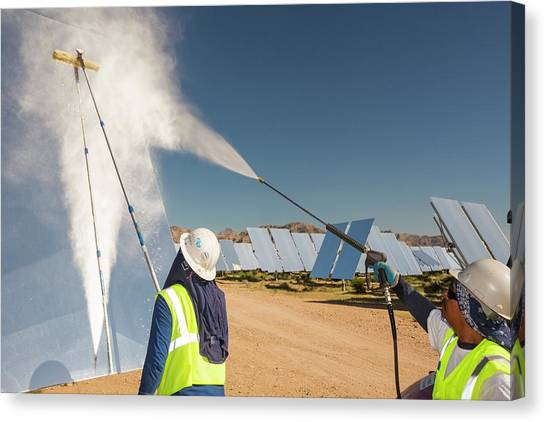 Clean Energy Canvas Print - Workers Washing The Heliostats by Ashley Cooper