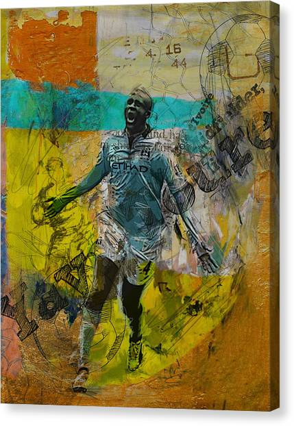 Manchester United Canvas Print - Yaya Toure by Corporate Art Task Force
