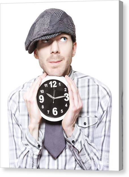 Daydream Canvas Print - Young School Boy Watching Time While Holding Clock by Jorgo Photography - Wall Art Gallery