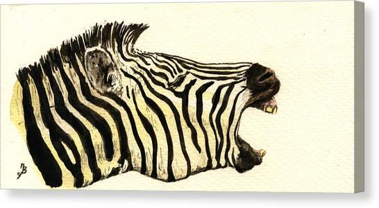 Nature Study Canvas Print - Zebra Head Study by Juan  Bosco