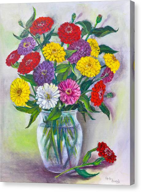 Old Fashioned Zinnias Canvas Print