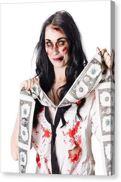 Resurrected Canvas Print - Zombie Banker With Forged American Dollars by Jorgo Photography - Wall Art Gallery