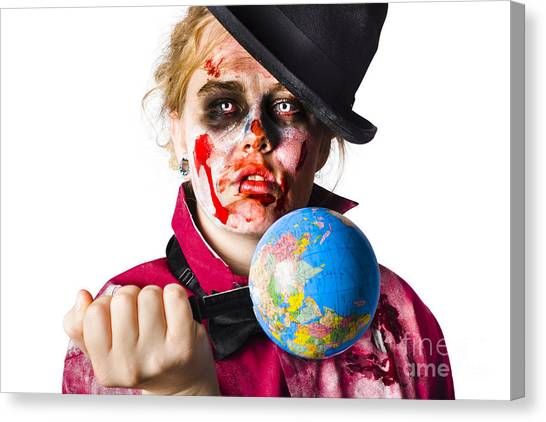 Climate Change Canvas Print - Zombie Holding Knife In Globe by Jorgo Photography - Wall Art Gallery
