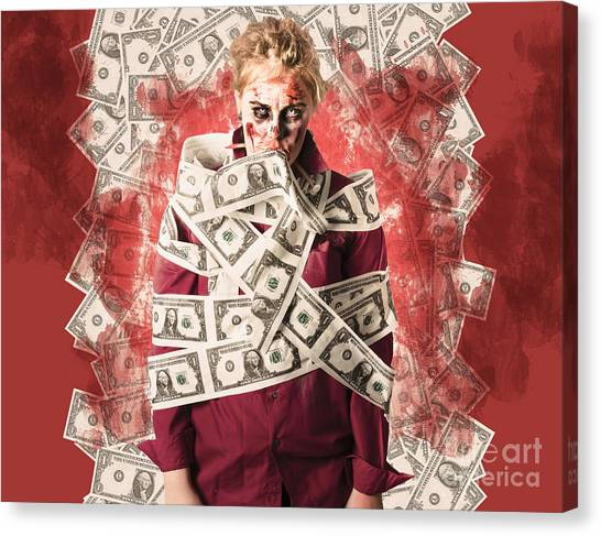 Taxes Canvas Print - Zombie Tied Up In Financial Debt. Dead Money by Jorgo Photography - Wall Art Gallery