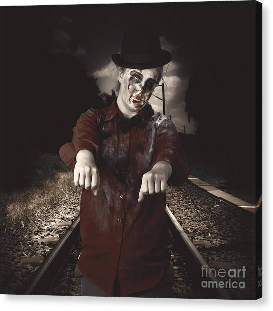 Automaton Canvas Print - Zombie Walking Undead Down Train Tracks by Jorgo Photography - Wall Art Gallery