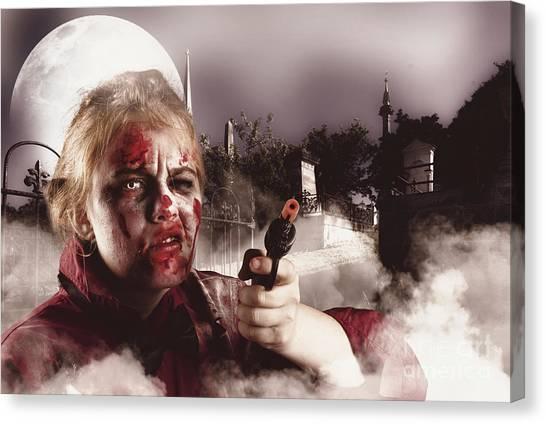 Terrorist Canvas Print - Zombie With Gun In Graveyard. Full Moon Nightmare by Jorgo Photography - Wall Art Gallery