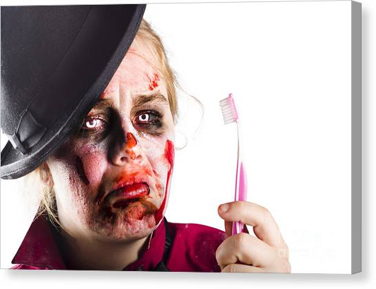 Toothbrush Canvas Print - Zombie Woman With Toothbrush by Jorgo Photography - Wall Art Gallery