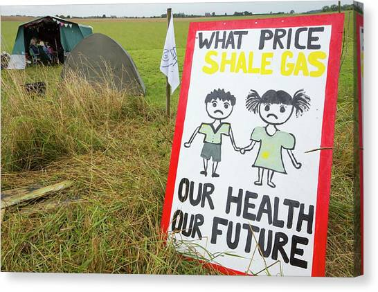 Fracking Canvas Print - A Protest Banner Against Fracking by Ashley Cooper