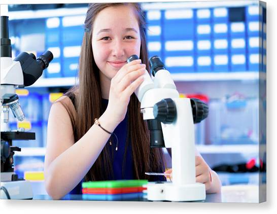 Girl Using Microscope Canvas Print by Wladimir Bulgar/science Photo Library