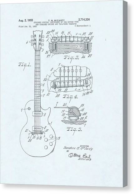 Guitar Patent Drawing On Blue Background Canvas Print