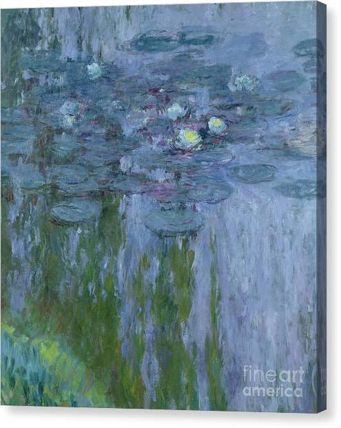 Weeping Willows Canvas Print - Waterlilies by Claude Monet