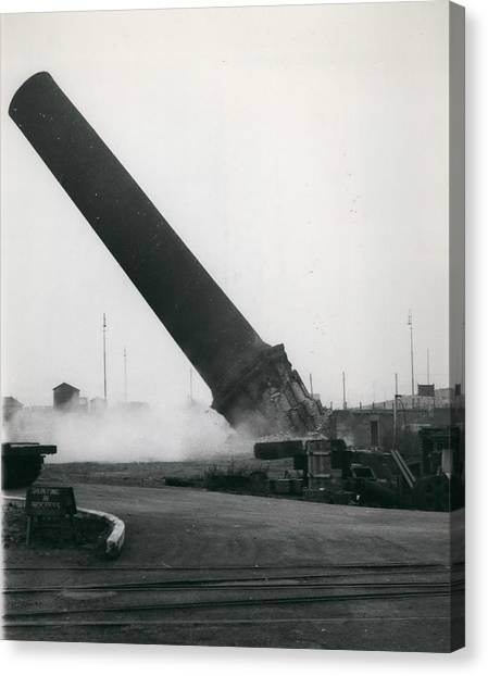 100-foot Chimney Stack Demolished At Silvertown Canvas Print by Retro Images Archive