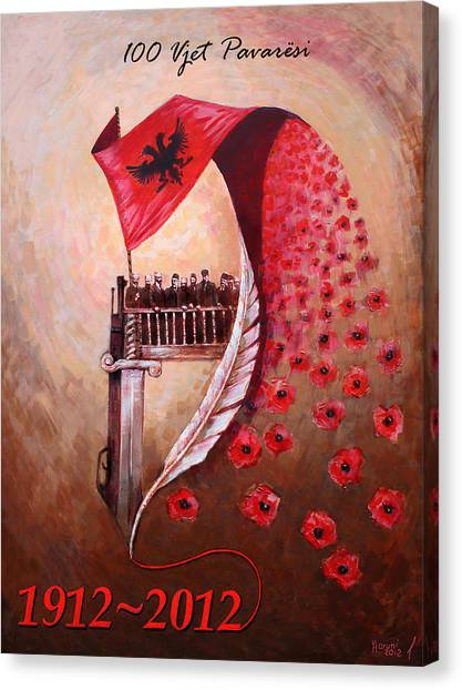 Anniversary Canvas Print - 100 Vjetori I Pavaresis Se Shqiperise  by Ylli Haruni