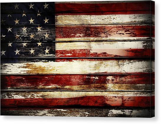 Patriot Canvas Print - American Flag 33 by Les Cunliffe