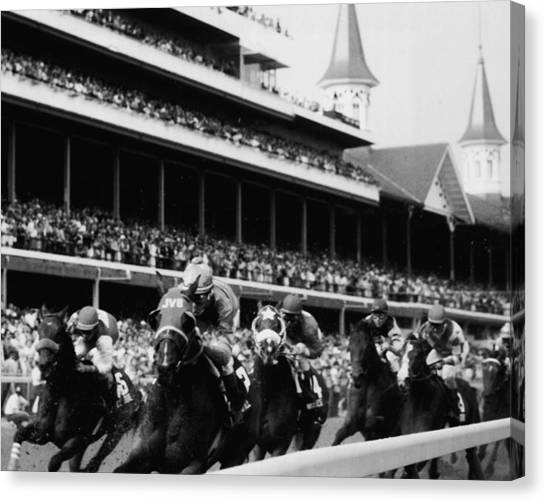 Thoroughbreds Canvas Print - Kentucky Derby Horse Racing by Retro Images Archive