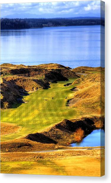Golf Course Canvas Print - 10th Hole At Chambers Bay by David Patterson