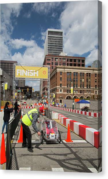 Finish Line Canvas Print - Fuel-efficient Vehicle Competition by Jim West