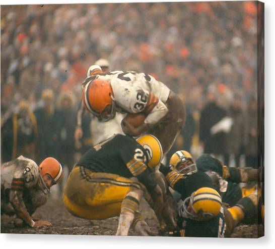Cleveland Browns Canvas Print - Jim Brown by Retro Images Archive