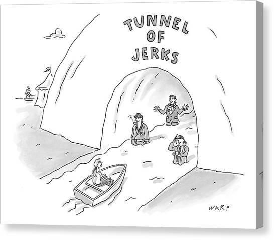 Warped Canvas Print - Tunnel Of Jerks by Kim Warp