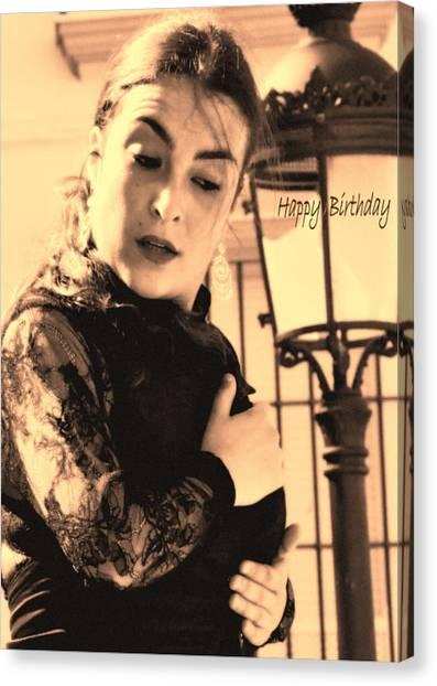 114 Chiki Torres Birthday Card - Flamenco Dancer Canvas Print by Patrick King