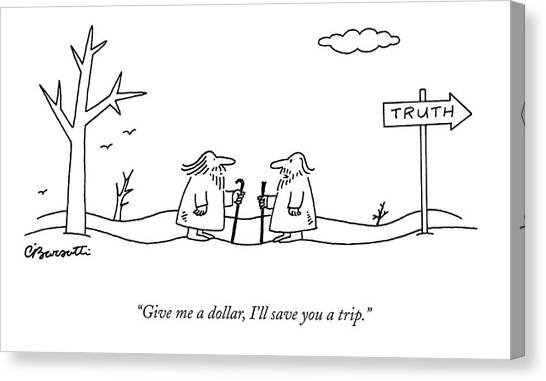 Pilgrimmage Canvas Print - Give Me A Dollar by Charles Barsotti