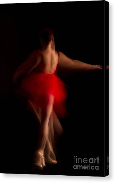 Ballet Dancer In Red Tutu Canvas Print