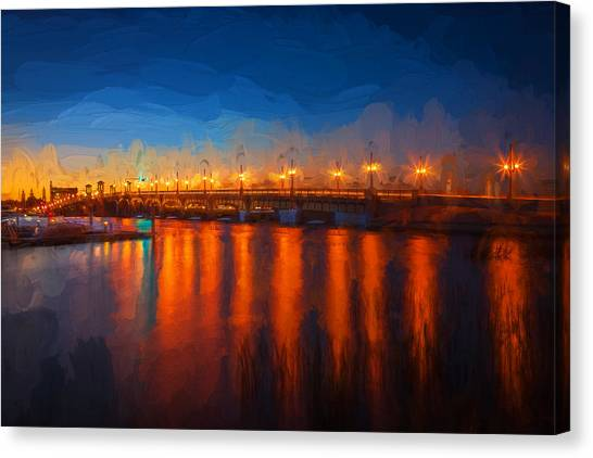 City Sunrises Canvas Print - Bridge Of Lions St Augustine Florida Painted by Rich Franco