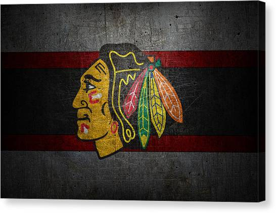 Skating Canvas Print - Chicago Blackhawks by Joe Hamilton