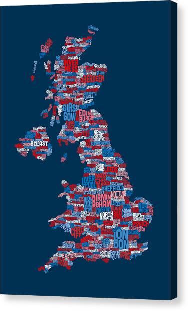 United Kingdom Canvas Print - Great Britain Uk City Text Map by Michael Tompsett