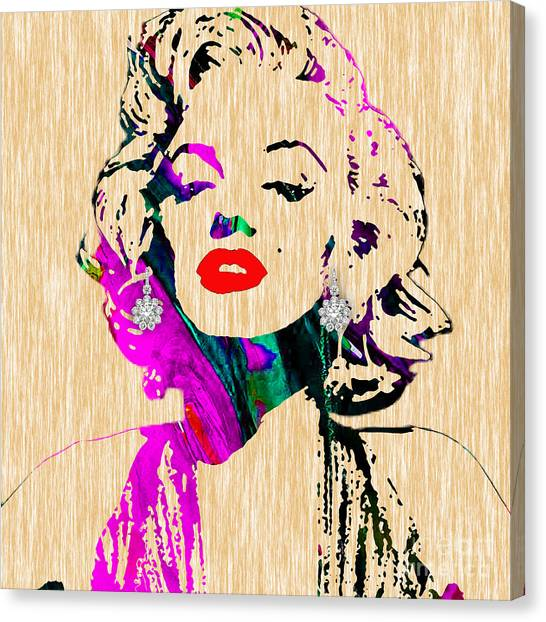 Hollywood Canvas Print - Marilyn Monroe Diamond Earring Collection by Marvin Blaine
